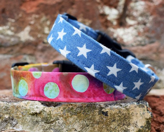 Handmade dog collars and leads - Denim Stars