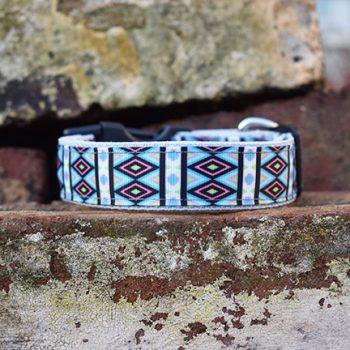 Handmade Turquoise Tribal Dog Collar (Aztec)
