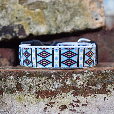 Handmade Turquoise Tribal Dog Collar (Aztec)