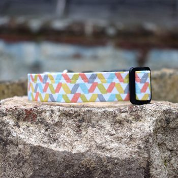 Handmade Hundreds and Thousands Dog Collar Pastel Blue Grey Yellow Orange