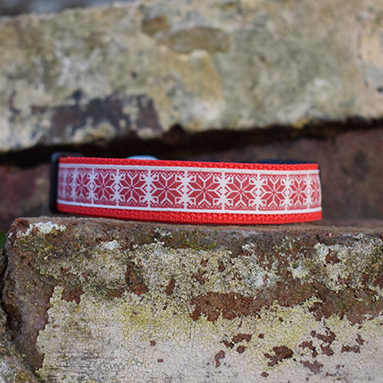 Christmas Jumper Dog Collar, handmade, dog accessories, festive range, snowflakes, red, fairisle