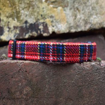 Handmade, dog collar, dog accessories, red, tartan, christmas