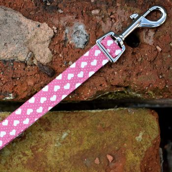 dog lead, dog collar, Hearts, Pink, handmade, dog accessories