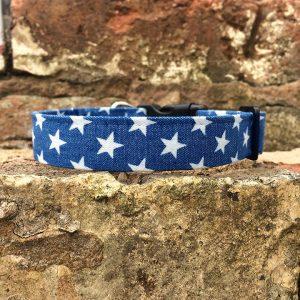 Denim Stars Dog Collar