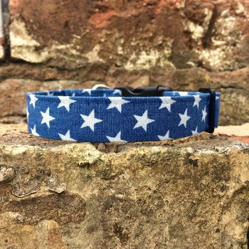 Denim Stars Dog Collar, Handmade dog collars and leads - Denim Stars