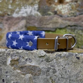 handmade, dog collar, dog accessories, leather, denim, stars