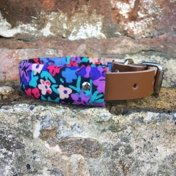 floral, dog collar, leather, dog accessories, handmade