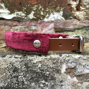 Merlot Velvet x Leather Dog Collar, velvet, crushed velvet, handmade, dog collar, leather, dog accessories, christmas