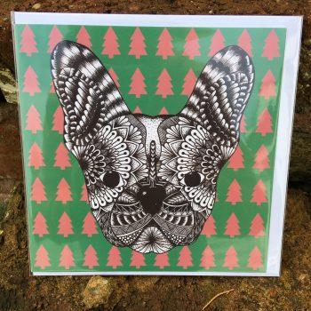 Dog Mandala Christmas Cards, frenchie, french bulldog, dog christmas cards, handmade, mandala, dog, card