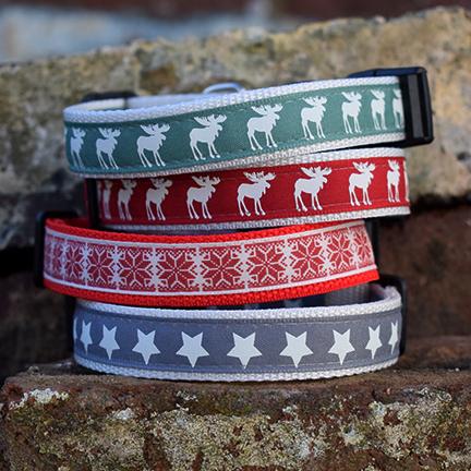 festive range, christmas dog collar, dog accessories, handmade, stars, rudolph, boots & bones