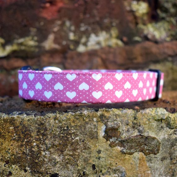Be My Valentine Dog Collar, pink, hearts, valentines, handmade, dog collar, pink and white collar, dog accessories