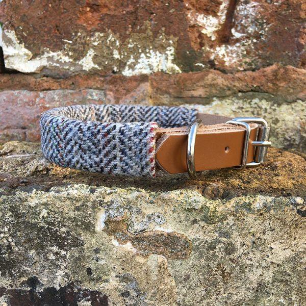 confetti Tweed, Dog Collar, leather, confetti tweed, autumn range, handmade, dog collar, tweed collar, dog accessories, grey