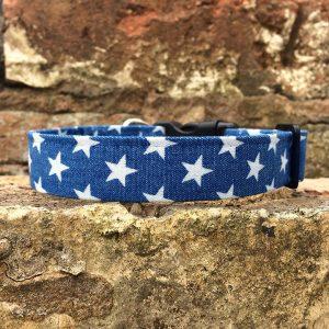 Denim Stars Dog Collar, star, spring range, handmade, dog collar, denim collar, dog accessories, blue