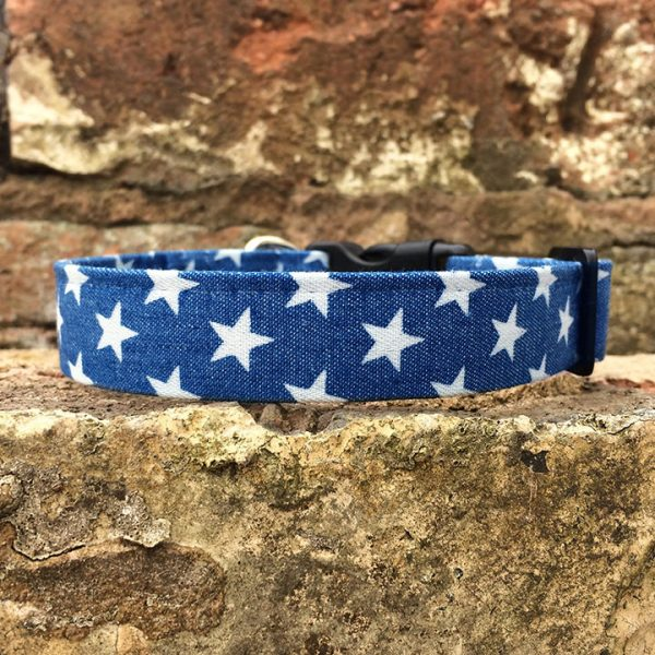 Denim Stars Dog Collar, star, spring range, handmade, dog collar, denim collar, dog accessories, blue