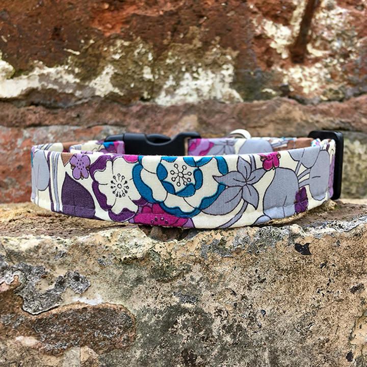 Spring Floral Dog Collar, purple, spring range, handmade, dog collar, flowery collar, dog accessories, flowers