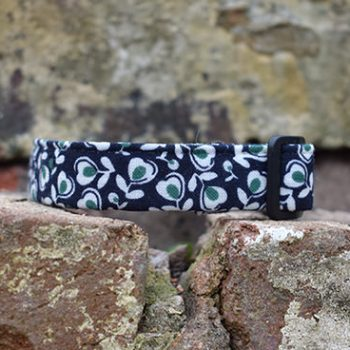 Midnight Bloom Dog Collar, floral, winter range, handmade, dog collar, Navy collar, dog accessories, flowers