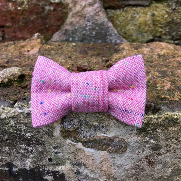 handmade, dog accessories, Pink Marl, dog bow tie, dickie bow