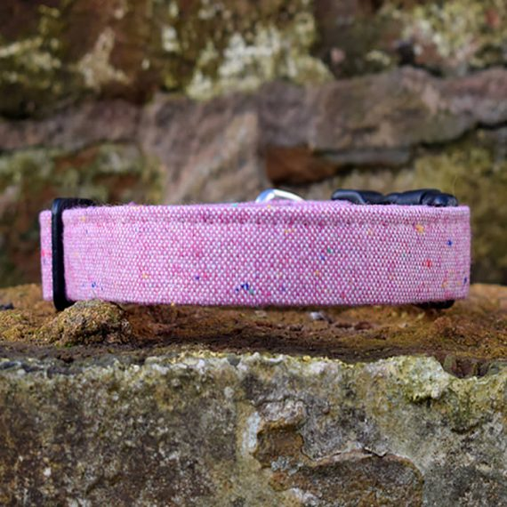 handmade, dog accessories, Pink Marl, dog collar