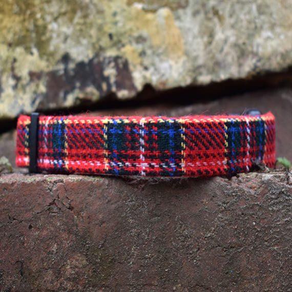 Tartan, Dog Collar, tartan, autumn range, handmade, dog collar, tartan collar, dog accessories, red