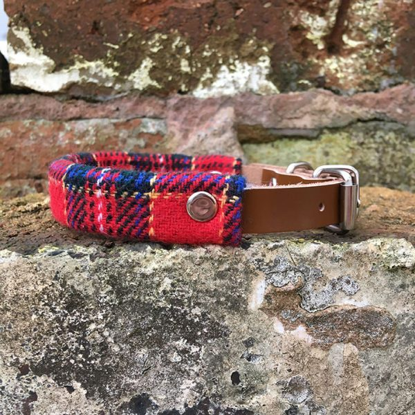 Tartan, Dog Collar, leather, tartan, autumn range, handmade, dog collar, tartan collar, dog accessories, red