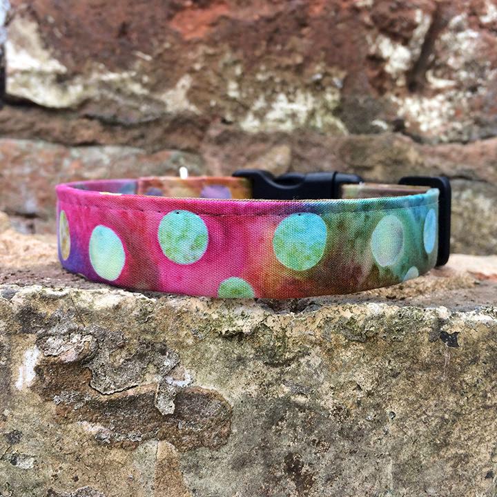 Tie Dye Dog Collar, pink, spring range, handmade, dog collar, hippy collar, dog accessories, trendy