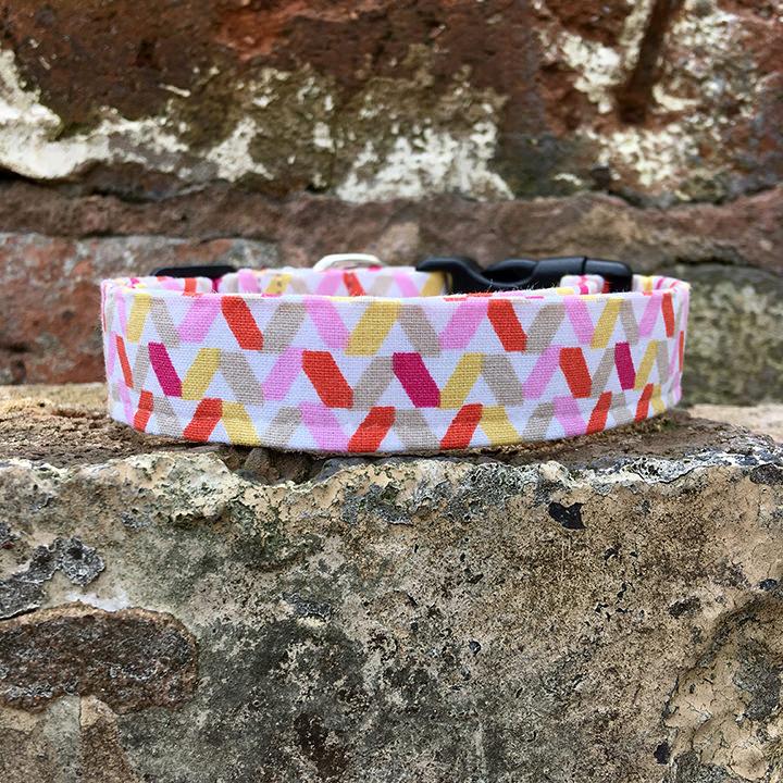 Tutti Frutti Dog Collar, tutti frutti, spring range, handmade, dog collar, pink collar, dog accessories, pink