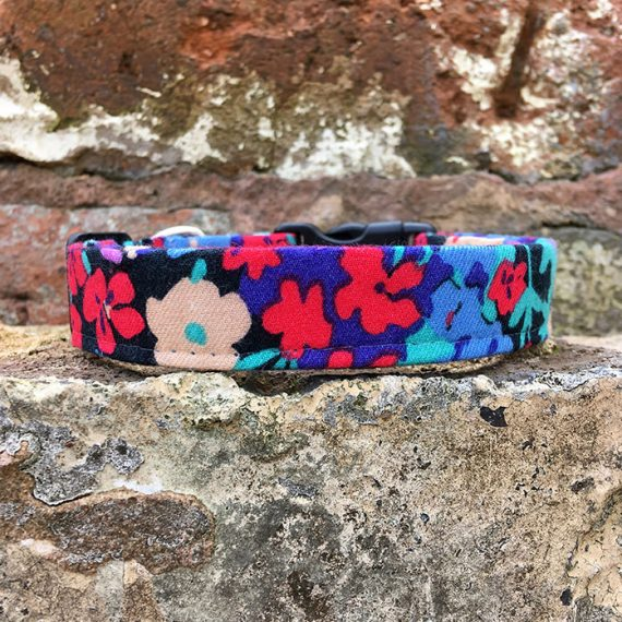 Winter Floral Dog Collar, pink, winter range, handmade, dog collar, flowery collar, dog accessories, flowers