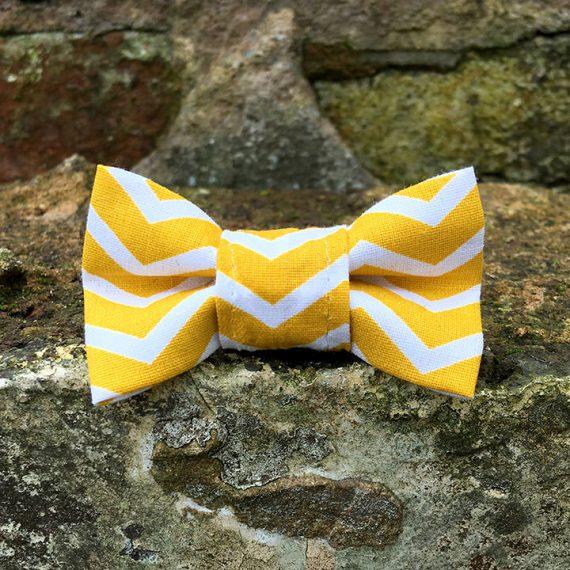 handmade, dog accessories, ZIg Zag, Stripey, Yellow Chevron, dog bow tie, dickie bow