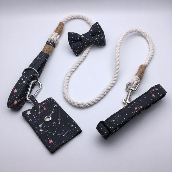 dog poop bag holder, lead, collar, bow tie, constellation, handmade, british, dog accessories