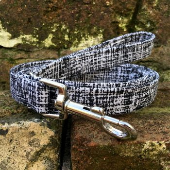 dog lead, dog accessories, boots and bones, handmade, black and white, scribble
